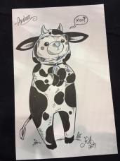 "Commission 07: ""A Teddy Bear in a Cow Costume"" ordered by an adorable little thing who was also in a cow costume."