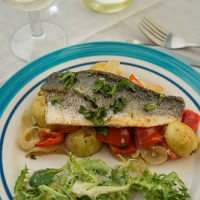 Baked Sea Bass on a Bed of Vegetables