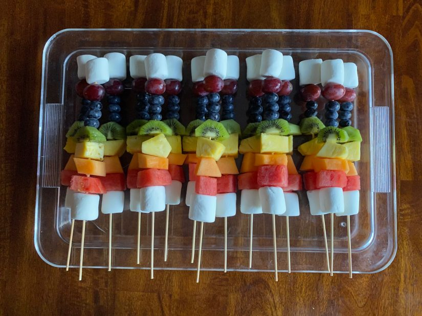 The rainbow fruit skewers came out absolutely beautiful. And they were a crowd favorite too!