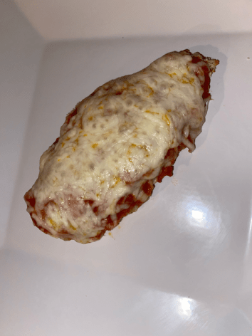 Finally, the classic chicken parmesan. This chicken is so easy, just some breaded cutlets, red sauce, and mozzarella cheese.
