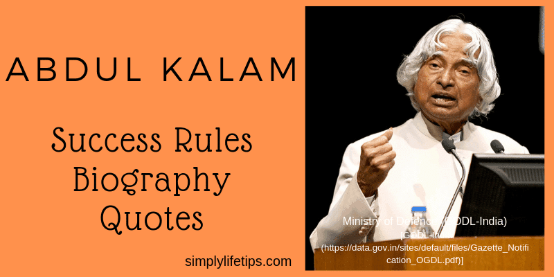 Abdul Kalam Success Rules Biography Quotes