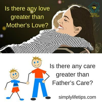 Mother's Love - Image of kid on the shoulder holding mother's neck with hands. Mother is happy. Bottom image Father's Care - Happy father and son holding hands