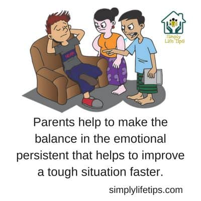Image showing son sitting on the sofa mood off, parents advising him.