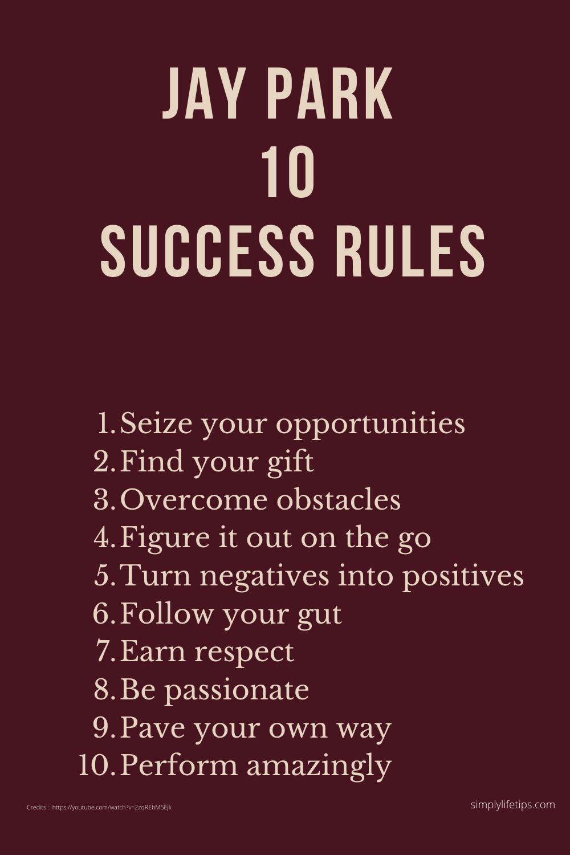 Jay Park Top 10 Success Rules