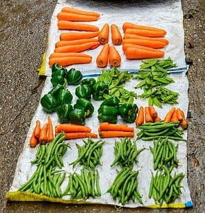 Fresh vegetables carrot beans capsicum