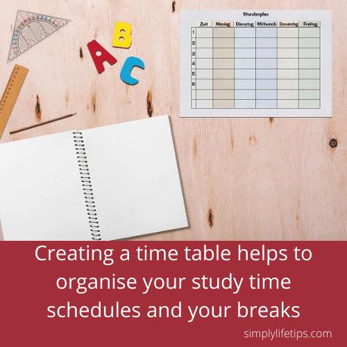 Time table - study hacks