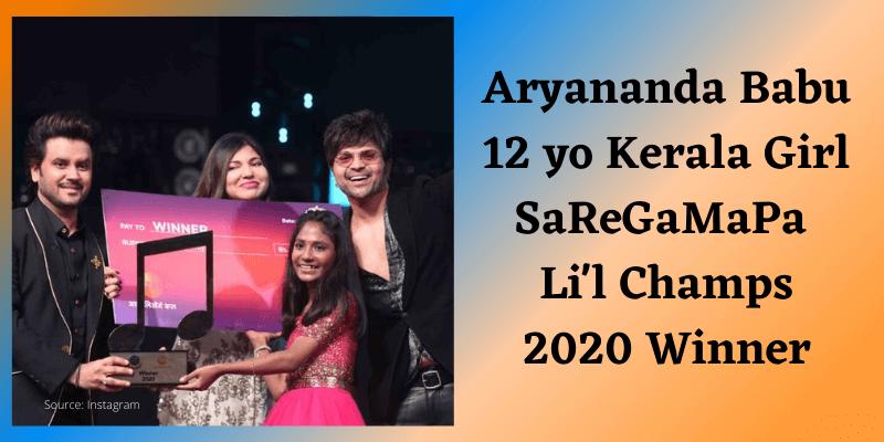 Aryananda Babu Kerala Girl SaReGaMaPa Li'l Champs 2020 Winner