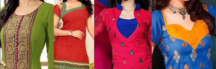 office wear Neck Line Designs For Churidar Suits