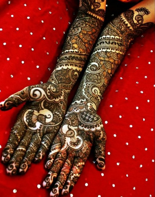 full length mehndi design for dulhan
