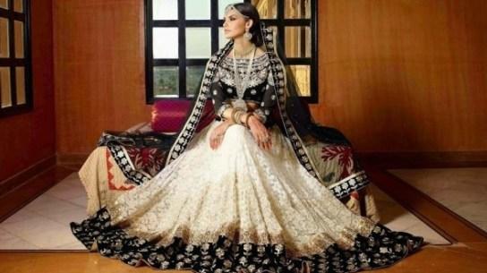 white black bridal lehenga