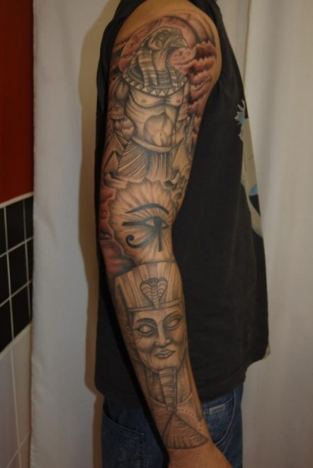 egyptian full arm tattoo designs