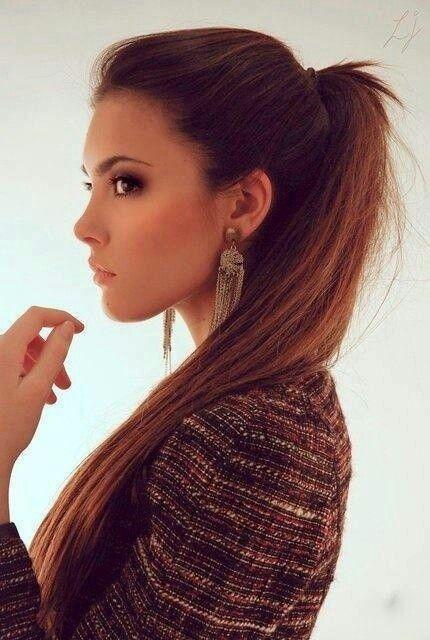 one side sleek ponytails