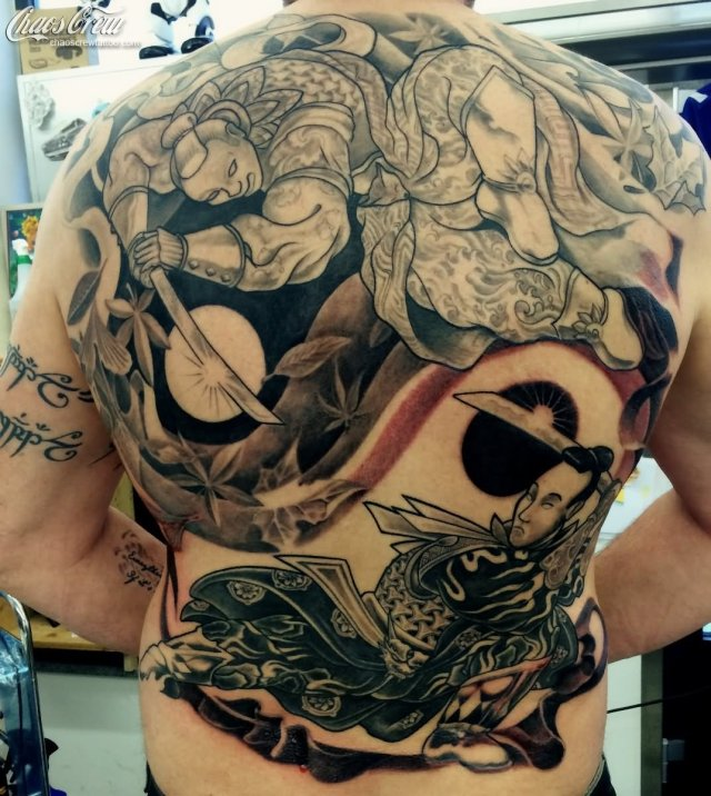 Asian Samurai Tattoo On Man