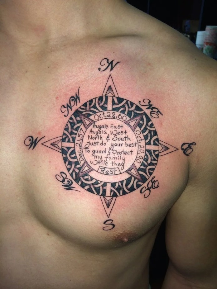 arabic tattoo design in compass form