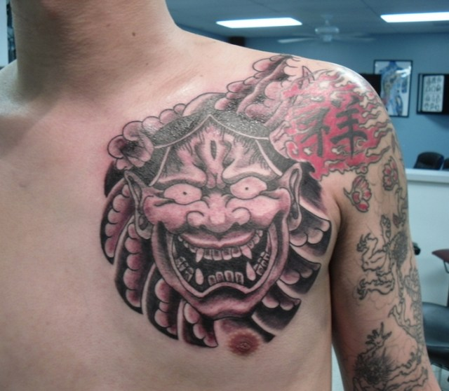 mask samurai tattoo design