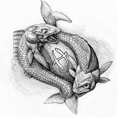 black and whte pisces tattoo design