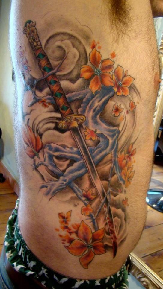 sword tattoo of samurai