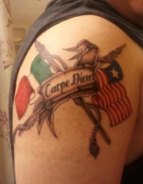 carpe diem tattoo design with flag