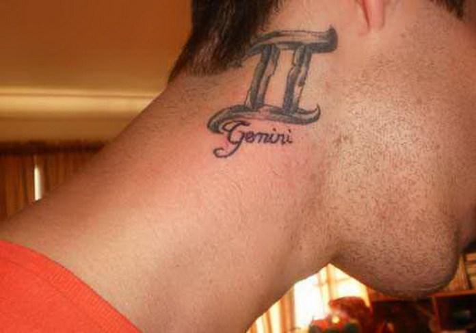 behind ear gemini tatto design