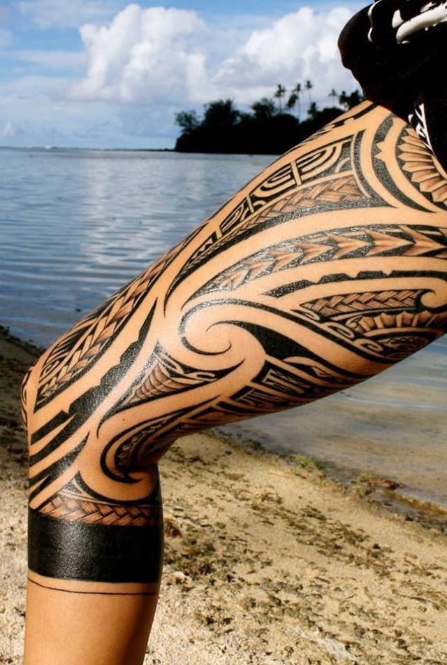 legpiece inspired by maori tattoo design