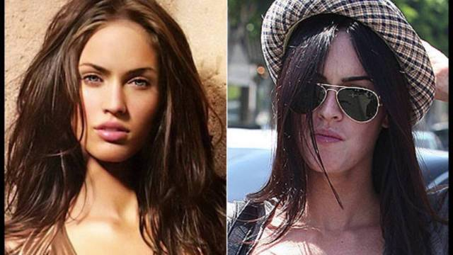 comparision of the Megan Fox Without Makeup or with make up