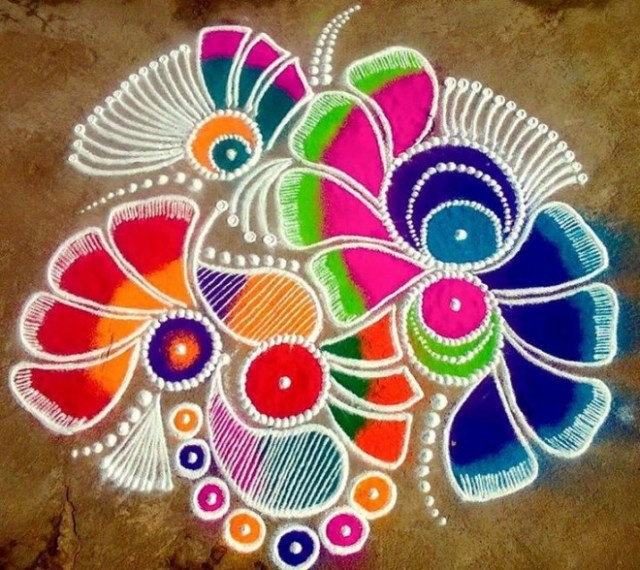 colorful pattern rangoli design foe diwali