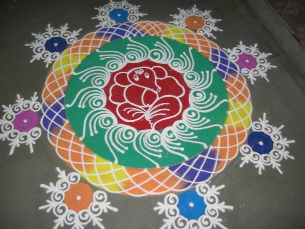 Indian rangoli design for diwali