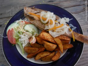 Longboarder Bar and Grill Jamaica Beach Lunch Fish Potato Wedges