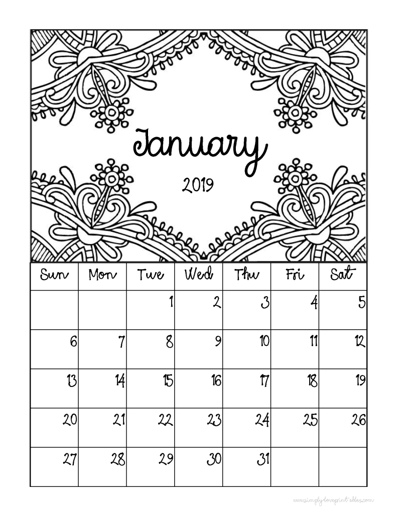 Free Printable 2020 Coloring Calendar Pages - Printables and ... | 1024x791