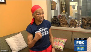 Eighty two year old grandmother beats robber who attempted to break into her home around evening time