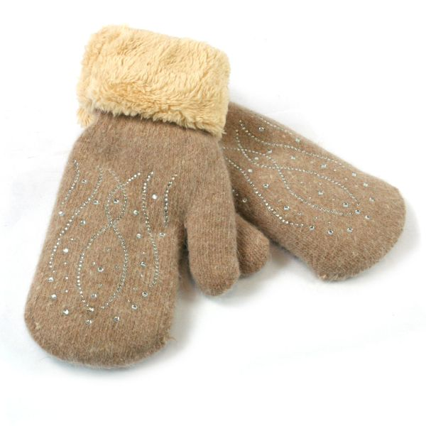 Super Soft Knitted Woollen Mitten Glove with Faux Fur and Sparkle Design - taupe