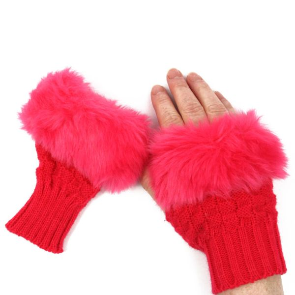 Women's Girl's Knitted & Faux Fur Fingerless Gloves Wrist Warmer