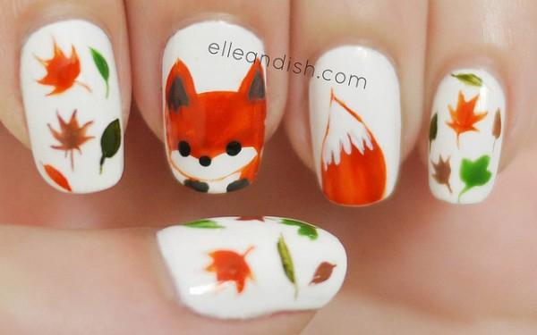 Fall Nail Art Ideas Fox Elleandish 600x375