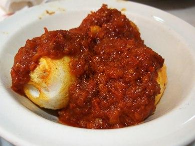 Deep fried hard-boiled eggs with sambal