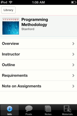 A typical iTunes U course.