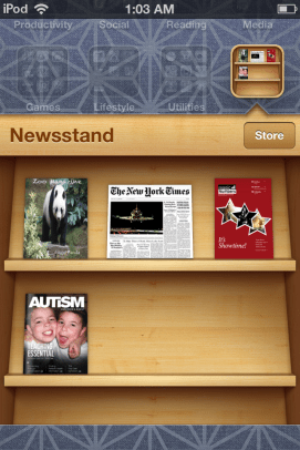 Newsstand opens like a folder, but it appears in the task manager like an app.