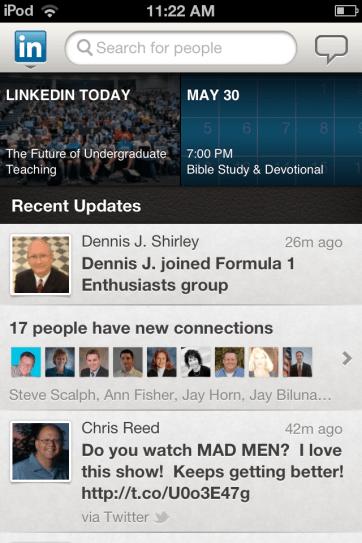 Viewing status updates in LinkedIn.