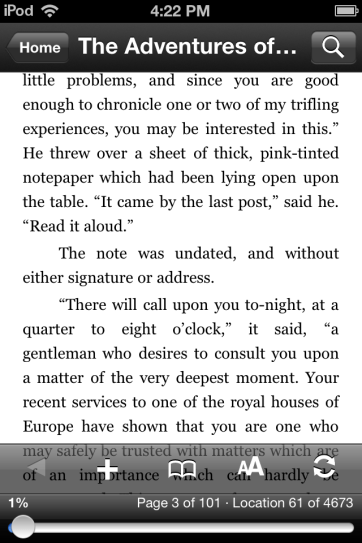 Reading an ebook in Kindle.