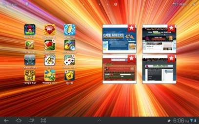 A home screen showing games and bookmarks.