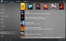Browsing genres in Media Hub.