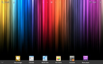 The mini apps appear in a dock formation when a button at the bottom-center is pressed.