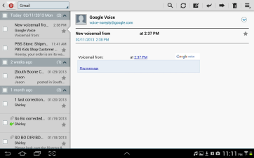 The TouchWiz email app.