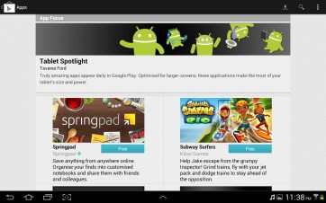 Featured apps in Google Play.