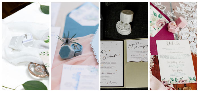 Flay Lay Styling Prop - Velvet Ring Boxes. Simply Rosie Designs, LLC.