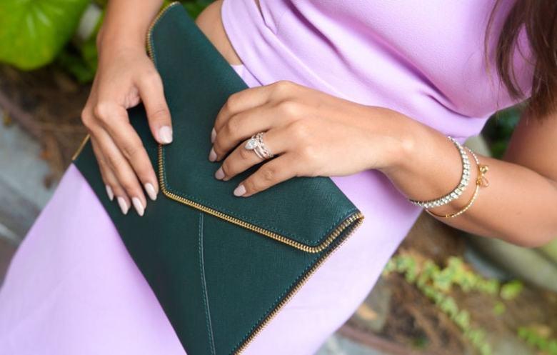 Rent The Runway Lilac Halston Heritage Dress, Rebecca Minkoff Clutch , Loreal Blogger