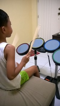 Asher on Rock Band 1 Drums
