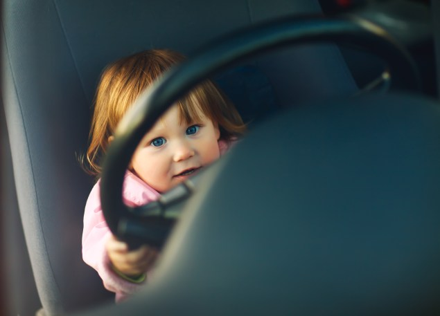 Little Girl Behind Wheel