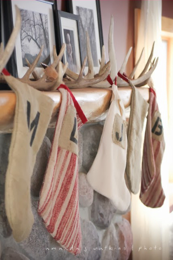 Use Shed Antlers as Stocking Holders via Our Fun With Five