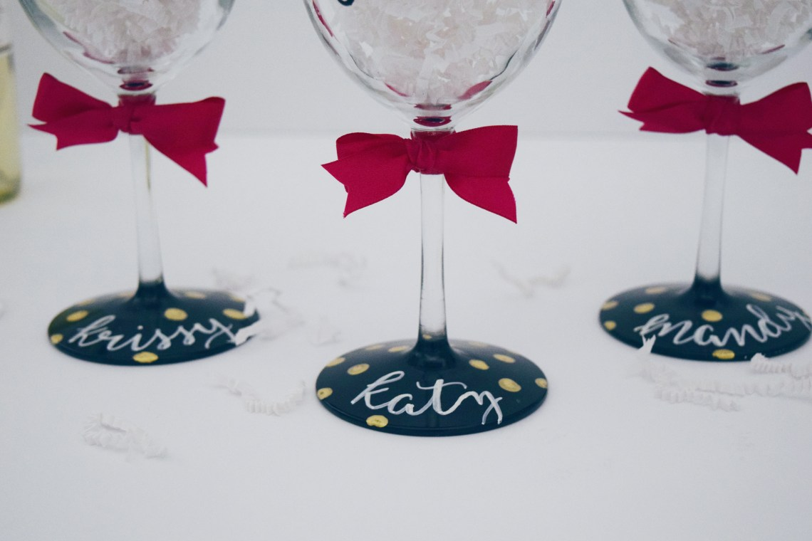 customized wine glasses - hand lettered