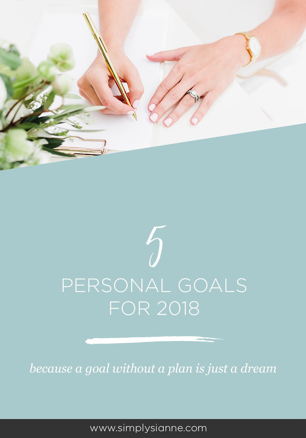 Breaking up my goals for 2018 into two parts: personal and business. I'm sharing my 5 personal goals in today's post, focusing on growth, our home, and travel. Click to see what they are.